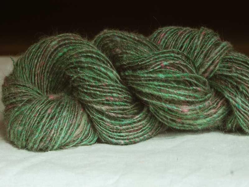 Handspun Green Speckled Icelandic Wool Yarn