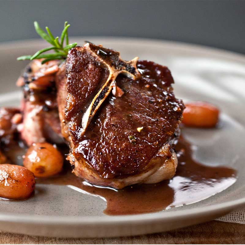 Grilled Lamb Chops with Red Wine, Garlic and Honey Glaze